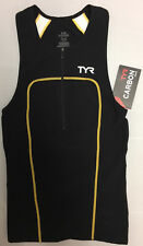 TYR Men's XS Black Gold White Triathlon Zip Front Singlet Tank Carbon USA New