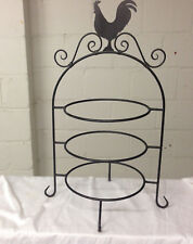 "ROOSTER BLACK METAL TIERED SERVING TRAY 3 TIERS 22"" TALL PIE COOLING STAND"