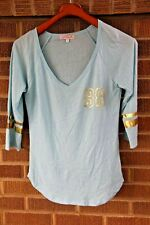 LaRok for Kitson~V-neck Baseball Tee~Baby Blue~S RARE