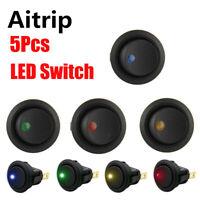 4PCS 12V LED Dot Light Car Auto Boat 3Pin Round Rocker ON/OFF Toggle SPST Switch