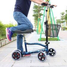 Steerable Foldable Knee Walker Scooter Turning Brake Basket Medical Drive Cart