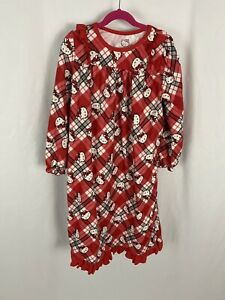 Hello Kitty Santa Hat Flannel Red Plaid Christmas Holiday Nightgown Girls M 7/8