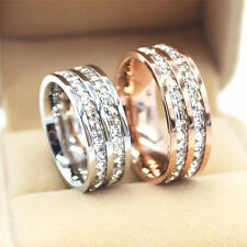 Titanium Steel CZ Rings Band Rose Gold Silver Filled Wedding Size J1/2-T1/2