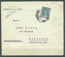 SERBIA 1918 - LETTER SENT FROM Belgrade TO Karlsbag CZECHOSLOVAKIA