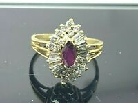Diamond Ruby 18k Yellow Gold Women's Cocktail Ring Estate Jewelry Size 6.25
