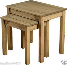Solid Pine Natural Wax Nest Of Tables (Set Of 2) W56cm x D40cm H53.5cm PAM