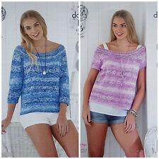 Knitting Pattern Femme 3/4 ou à Manches Courtes Col Bateau Pull Vogue DK 4765