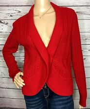 Talbots Womens Open Cardigan Solid Red Cable Knit Nylon Lambswool Small Petite