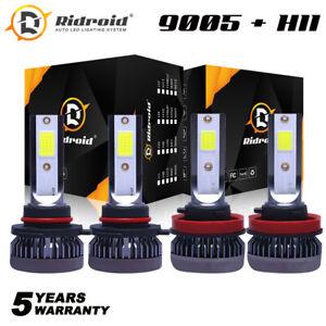 9005 H11 High + Low Beam Combo 52000LM LED Headlight Bulb Kit 6000K Super White