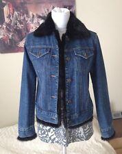$298 Adrienne Landau Real Fur Collar and Cuff Denim jacket XS S rAg bOne 2