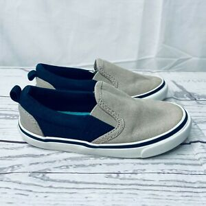 Old Navy Khaki Navy Blue Canvas Slip On Low Top Sneaker Casual Shoes SZ 7