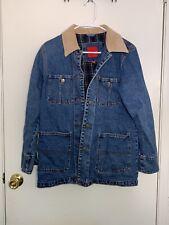 Gloria Vanderbilt Blue Cotton Jean Womens Jacket with Beige Corduroy Collar Sz S