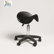 Black Adjustable Saddle Seat Rolling Manicure Beauty Salon Bar Chair Stool Wheel