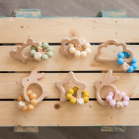 Beech Wooden Baby Toys Silicone Beads Teething Bracelet Stroller Teether Rattles