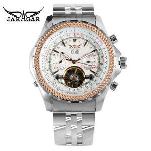JARAGAR Tourbillon Date Mens Pilot Mechanical Automatic Wrist Watch Steel Band