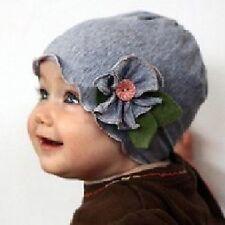 Bebé Infantil Gorro con flor Flor Hojas Botón Algodón Gris cottonwhool NUEVO