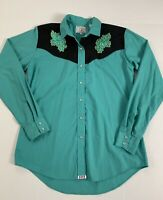 Ely Country Charmers Women Western Shirt Snap Pearl Teal Black Size M