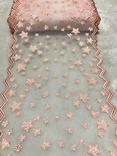 20cm Light Orange Pink Star Embroidered Mesh Lace Trim Sewing Dress Per Meter