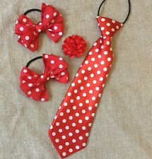 Childs Equestrian Showing Set, Show Tie Bows & Buttonhole RED & WHITE SPOT -