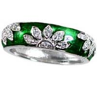 GREEN ENAMEL FLORAL CZ BAND RING_SIZE-5__925 STERLING SILVER - NF