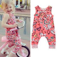 US Newborn Toddler Baby Girl Vest Romper Floral Bodysuit Jumpsuit Outfit Clothes