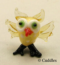 Owl Bird Wise Hoot Fly Mini Glass Figurine Yellow Black Ganz Tiny Blown Sm