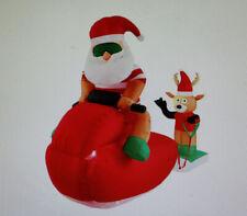 """Gemmy Airblown Inflatable 7"""" Santa & Reindeer Jet Ski / Watersport New Unused"""