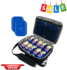 Insulated Slim Thin Flat Cooler Lunch Bag Fits 10 Drink Cans With Ice Packs