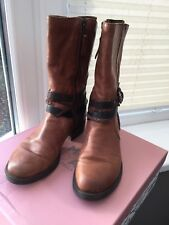 Moda In Pelle Espla Tan Leather Boots Size 38 (UK5)