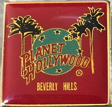 Planet Hollywood BEVERLY HILLS 1990s PALM TREES w/ Globe Logo on RED Square PIN