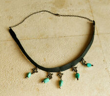 one of a kind custom leather, silver and turquoise choker, fashion jewelry