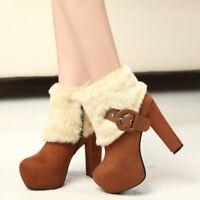 Womens Warm Faux Fur Ankle Boots Block High Heel Platform Faux Fur Shoes Booties
