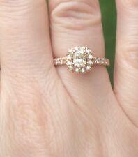 14k Rose Gold Halo Radiant Diamond Engagement Ring