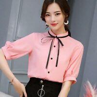 Loose T-Shirt Blouse Short Sleeve Top Ladies Shirt Summer Chiffon Fashion Women