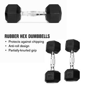 WEIDER 15 LB Dumbbell Set (2) Rubber Hex Weights Pair (30LB Total)  New