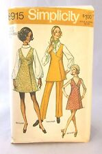 Vintage Simplicity 8915 Sewing Pattern MISSES MINI JUMPER OR TUNIC & PANT Sz 12