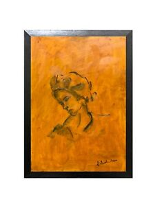 Original oil painting art contemporary female portrait On board A3 size