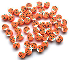 50 FIMO POLYMER CLAY PUMPKIN BEADS - APPROX 10MM