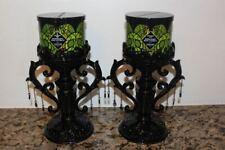 Bath & Body Works Halloween Goth Black/Purple Bats Pedestal Candle Holders~2020~