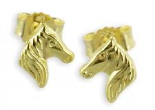 ECHT GOLD *** Pferd Pferdekopf kleine Ohrstecker Ohrringe 5 mm