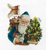 BLUE VICTORIAN L&B SANTA CLAUS, PRETTY CHRISTMAS TREE Antique Diecut Scrap, 6.5""