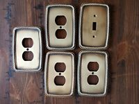 LHMC 2005 Brass Wall Plates Rope Edge/ Switch Plates / Outlet Covers - Lot of 5