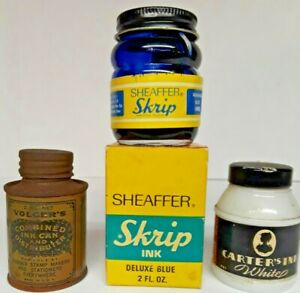 Vintage SHEAFFER'S SKRIP Writing Fluid Deluxe BLUE INK Side Well Bottle LOT of 3