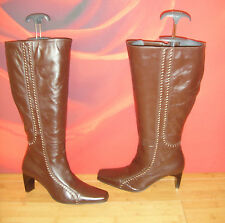 SUPERB ESSENCE BROWN LEATHER  BOOTS  UK 4  calf  42.5cm *13*