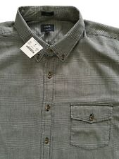 NTW J. CREW FACTORY MEN PLAID BLACK WHITE SLIM BRUSHED TWILL BUTTON UP SHIRT XL