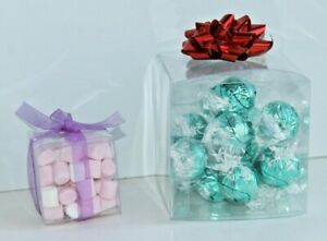 Clear Plastic Square Presentation Display Boxes Sweets Favours * Choice of sizes