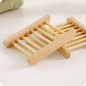 Portable Wooden Soap Tray Bathroom Kitchen Soap Storage Box Rack New