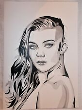 Paper Painting Natalie Dormer 2 B&W Art 16x12 inch Acrylic
