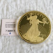2003 USA DOUBLE EAGLE 1933 GOLD PLATED 100mm PROOF MEDAL  - coa