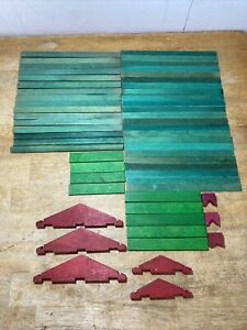 Vintage Lincoln Logs Roof Slats Green Red Chimneys & Trusses Wood Lot of 56